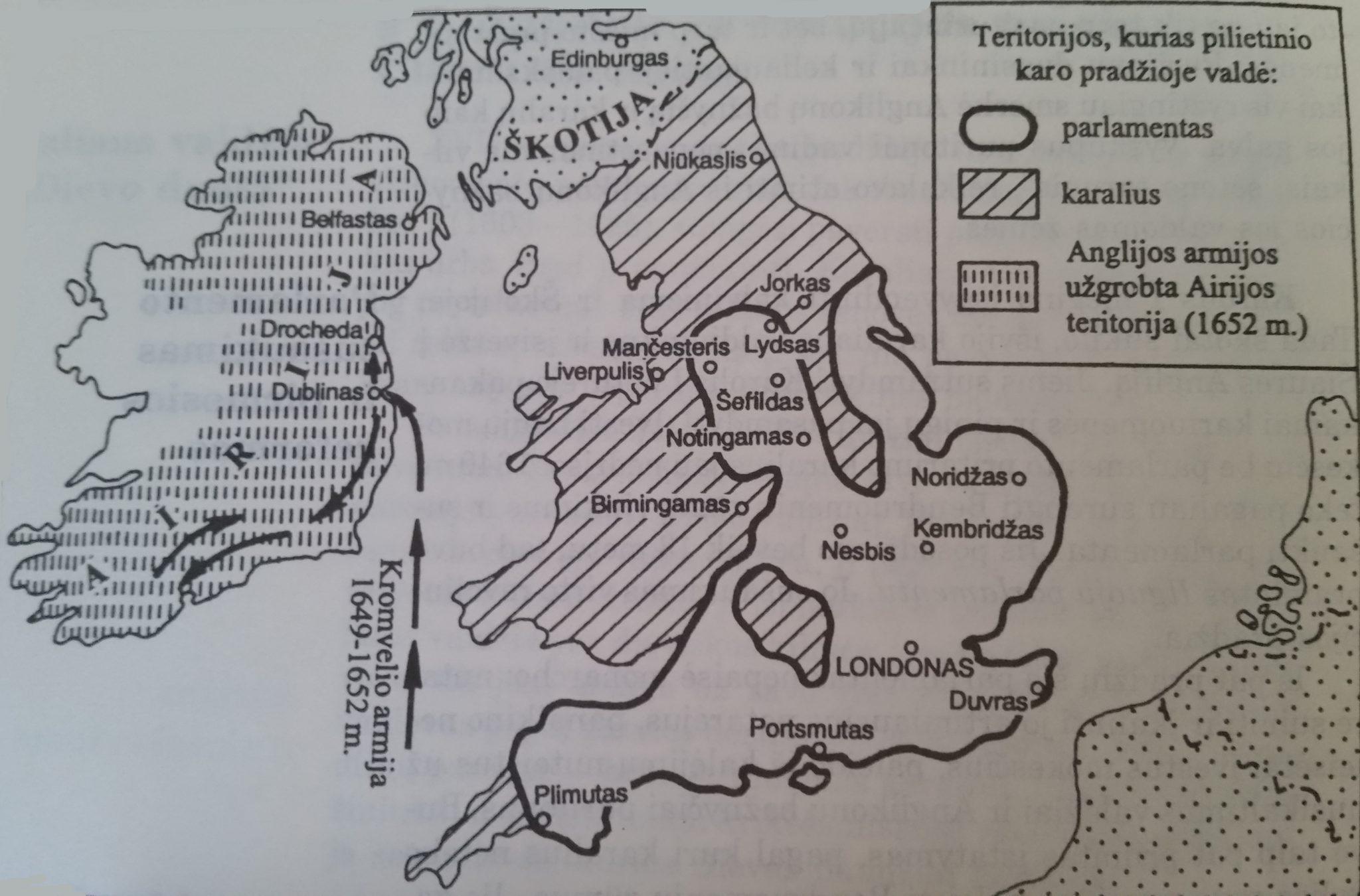 Anglijos pilietinio karo žemėlapis