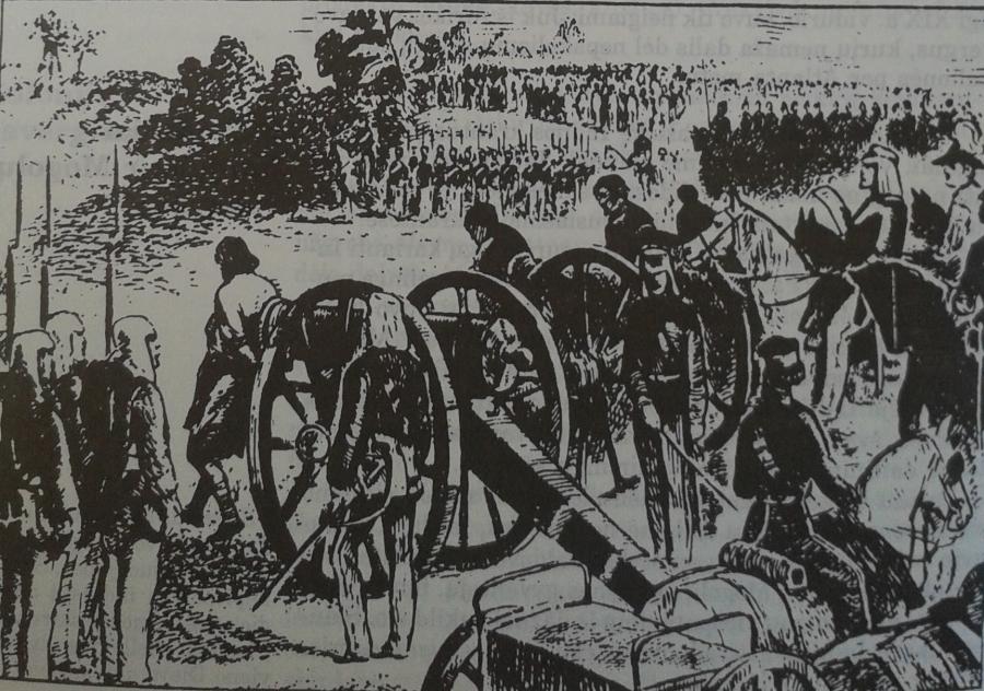 Anglų kolonizatoriai šaudo į sukilelius Indijoje
