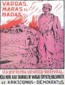 1920 m. rinkimų plakatas už krikščionis-demokratus