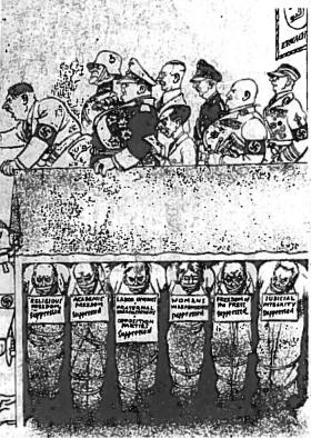 1936 m. amerikiečių karikatūra. Per trejus metus aš atkūriau vokiečių tautos garbę ir laisvę (iš Hitlerio kalbos)