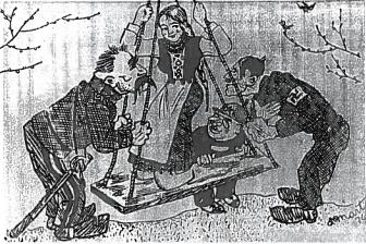 1934 m. karikatūra Likimo sūpuoklės, vaizduojanti tarptautinę Lietuvos padėtį.