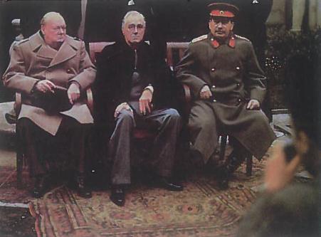 Vyrai, nuo kurių sprendimų priklausė įvykių raida pasaulyje 1941-1945 m. V. Čerčilis, F. Ruzveltas ir J. Stalinas
