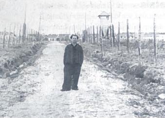 'Prisimink kada nors tas dienas ir tą kelią, kada vaikščiojome. Petrui - Povilas. Inta. Kelias iš lagerio į šachtą. 1956 08 30.' Autentiškas užrašas ant nuotraukos