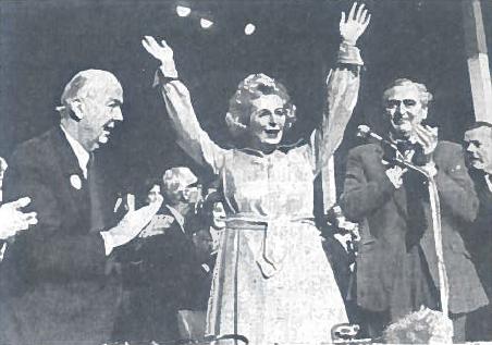 Ilgametė Didžiosios Britanijos konservatorių vadovė M. Tečer partijos suvažiavime 1976 m.