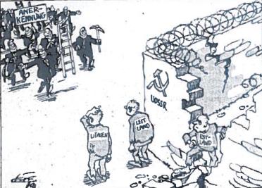 Išvaduotojai ateina. Rolfo Heno karikatūra. 'Štutgarter Ceitung'. 1991 m rugpjūčio 29 d.