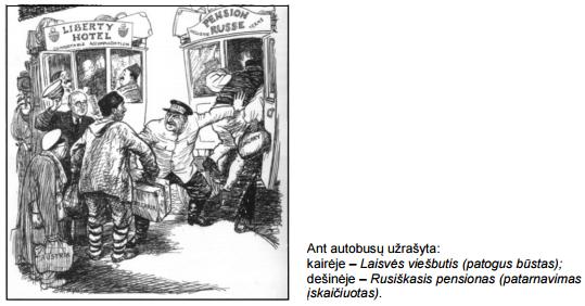 2015 m. VBE bandomajo D šaltinio karikatūra konkurentu autobusiukai