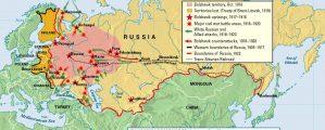 Rusijos revoliucijos ir pilietinio karo žemėlapis 1905-1922
