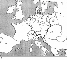 2003 metų valstybinio brandos egzamino Europos po Vienos kongreso žemėlapis (šaltinių dalis)