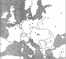 2003 metų valstybinio brandos egzamino Europos prieš Pirmąjį pasaulinį karą žemėlapis (šaltinių dalis)