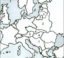 2004 metų valstybinio brandos egzamino Europos po Pirmojo pasaulinio karo žemėlapis (šaltinių dalis)