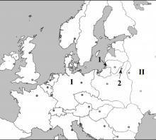 2005 metų valstybinis brandos egzamino Europos po Pirmojo pasaulinio karo žemėlapis (šaltinių dalis)
