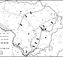 2005 metų valstybinis brandos egzamino Lietuvos nepriklausomybės kovų žemėlapis (šaltinių dalis)