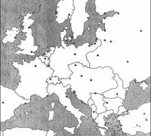 2006 metų valstybinio brandos egzamino Europos prieš Pirmąjį pasaulinį karą žemėlapis (šaltinių dalis)