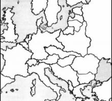 2010 metų valstybinio brandos egzamino Europos po Pirmojo pasaulinio karo žemėlapis (testinė dalis)
