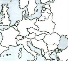 2013 bandomojo egzamino Europos po Pirmojo pasaulinio karo žemėlapis (testinė dalis)