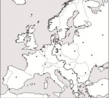 2014 metų valstybinio brandos egzamino Šaltojo karo žemėlapis (testinė dalis)