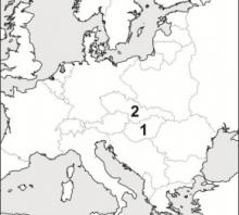 2014 metų valstybinio brandos egzamino Europos po Pirmojo pasaulinio karo žemėlapis (testinė dalis)