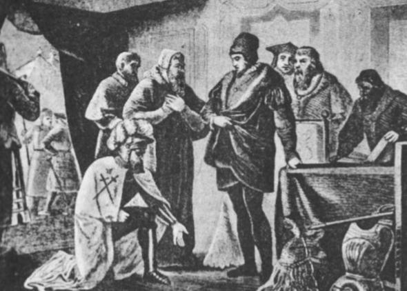 Livonijos ordino magistras Fūrstenbergas Pasvaly atsiprašo Zigmantą Augustą 1557 m. rugsėjo 14 d. (ano meto paveikslas).