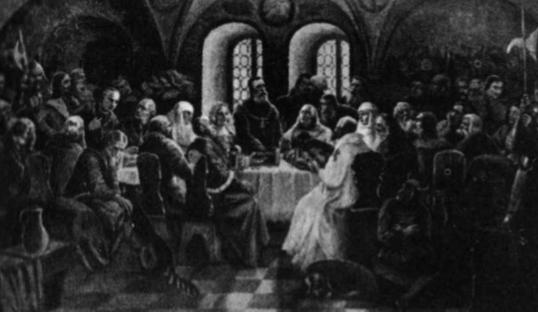 Lucko suvažiavimas. Stovi imperatorius Zigmantas, nuo jo į dešinę Vytautas su žmona Julijona, o į kairę imperatoriaus žmona, Jogailos žmona Zofija ir Jogaila. (Dailininko Mackevičiaus paveikslas; originalas — Karo Muziejuje).