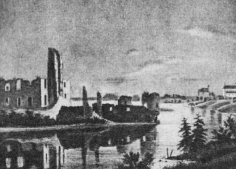 Trakų pilies griuvėsiai. (A. Zametto akvarelinis piešinys — 1847 m.).