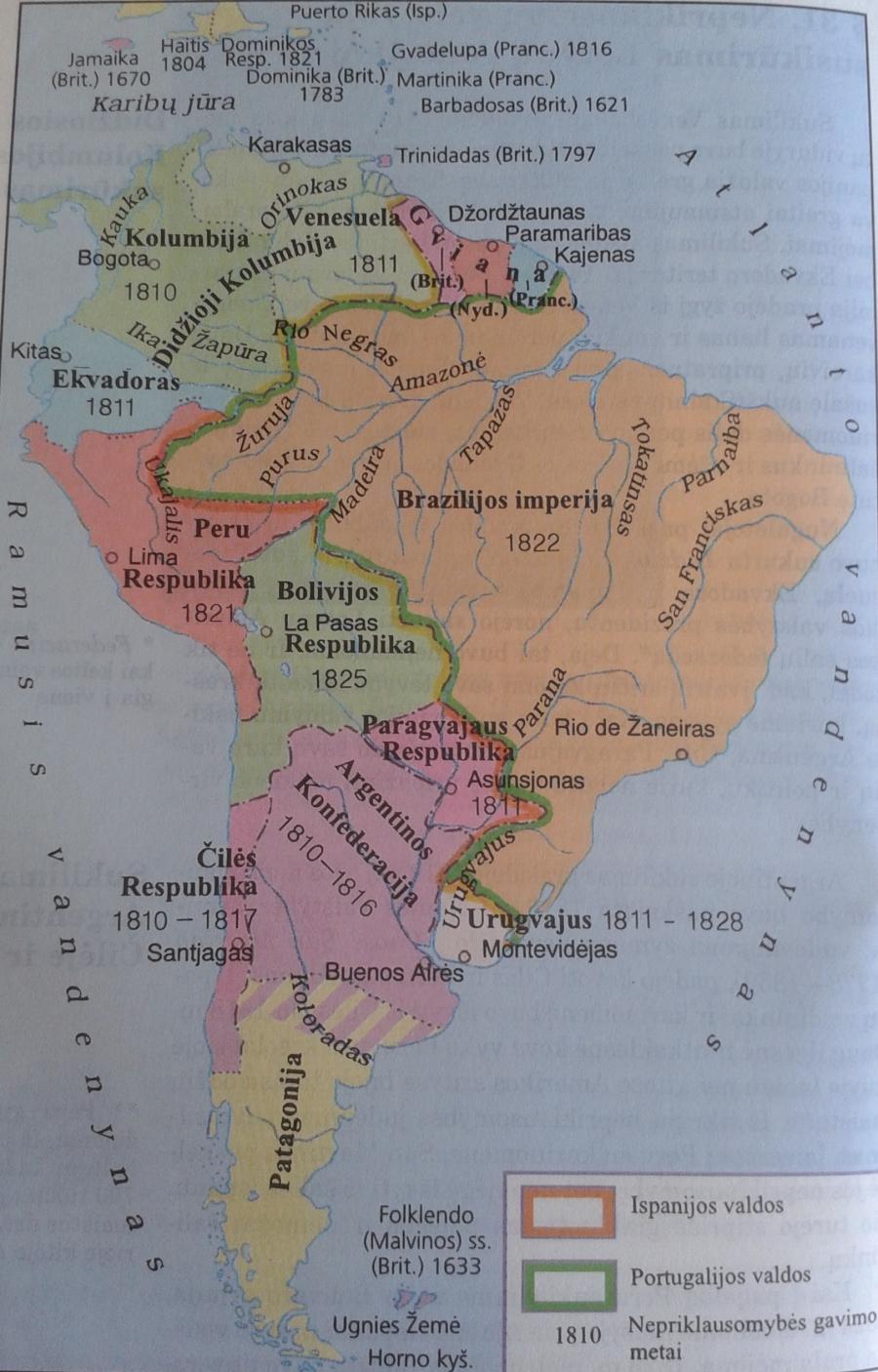 Lotynų Amerikos šalys XIX a. pradžioje