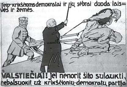 1920 m. rinkimų plakatas prieš krikščionis-demokratus