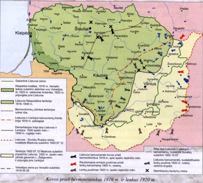 Kovos prieš bermontininkus 1919 m. ir lenkus 1920 m.