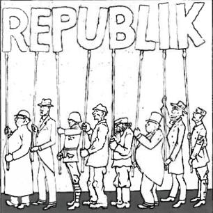 Heinės karikatūra. Jie neša firmos raides. O kur dvasia