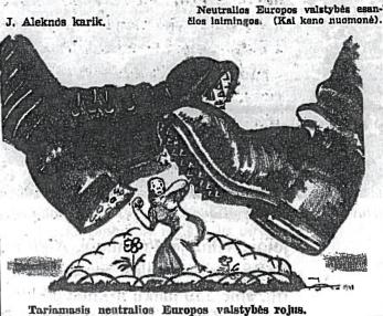 1940 m. karikatūra, pašiepianti Lietuvos neutraliteto politiką. Kuntaplis, Nr. 18