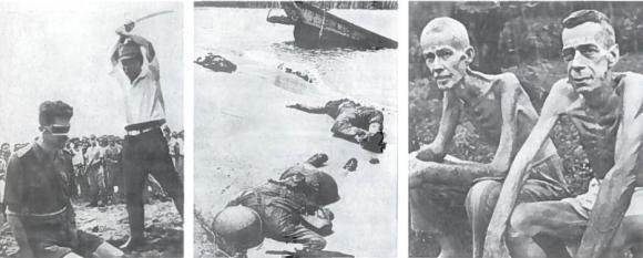 Japonija karo metu žadėjo laikytis 1929 m. Ženevos konvencijos. Bet... pagarsėjo ypatingu žvėriškumu, belaisvių kankinimais, net žudymu, masiniu civilių naikinimu. Po karo paaiškėjo, kad belaisvių stovyklose japonų specialistai su žmonėmis atlikinėjo įvairiausius eksperimentus, bandė naujausius ginklus, tarp jų ir bakteriologinį. Kartais belaisviai stovėdavo vietoj taikinių naujokų šaudymo pratybose. Šimtai tūkstančių žmonių tapo karo nusikaltėlių aukomis. Po karo įrodyta, kad šie nusikaltimai dažniausiai vykdyti Japonijos vadovybės nurodymu ar su jos žinia. Už karo nusikaltimus Tokijo karinis tribunolas 7 karo nusikaltėlius pasmerkė mirties bausme pakariant, o dar dvi dešimtis - įvairiomis laisvės atėmimo bausmėmis. Kairėje - japonų karininkas nužudo belaisvį. Viduryje - žuvę amerikiečiai. Naujoji Gvinėja, 1943 m. Milijonų vyrų žuvusių karo mūšiuose, žinomi ir nežinomi kapai nusėjo Europą, Afriką ir Aziją. Dešinėje - buvę belaisviai, Filipinai, 1945 m. vasario mėn. Jiems pasisekė. Jie liko gyvi. Daug į japonų nelaisvę patekusių vyrų žuvo
