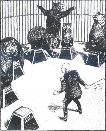 SSRS santykiai su Rytų Europos valstybėmis. Karikatūra. 1956 m. spalio mėn.