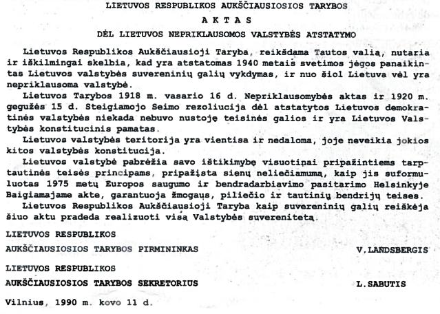 Lietuvos Respublikos Aukščiausiosios Tarybos aktas dėl Lietuvos nepriklausomos valstybės atstatymo