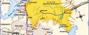 Rusijos pilietinio karo pradžios žemėlapis