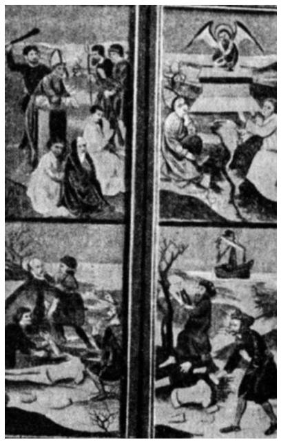 Šv. Vaitiekaus mirtis. (Taip atvaizduota jo mirtis vienos senos Sembos bažnyčios altoriuje).