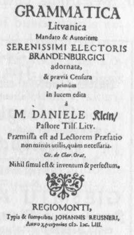 D. Kleino 1653 m. gramatika