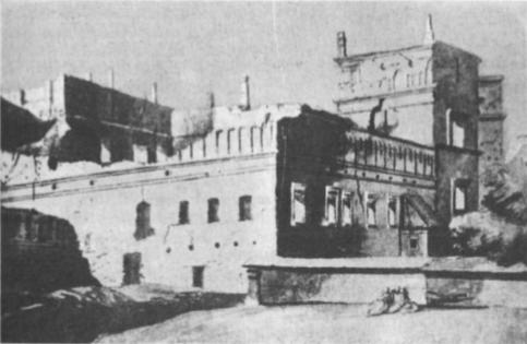 Dalis Vilniaus didžiųjų kunigaikščių rūmų griuvėsių (Smuglevičiaus piešinys)