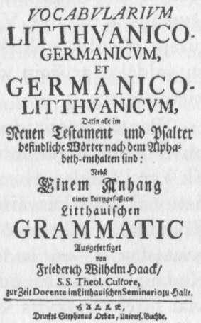 Fr. Haacko 1730 m. žodynas.