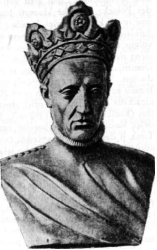 Jogaila. Biustas jo marmurinės statulos antkapy, Krokuvos Katedroje.