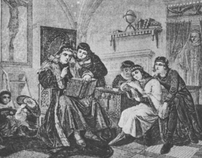 Kazimiero vaikų auklėtojas istorikas J. Dlugošas ir karalaičiai. (F. Cynko paveikslas).