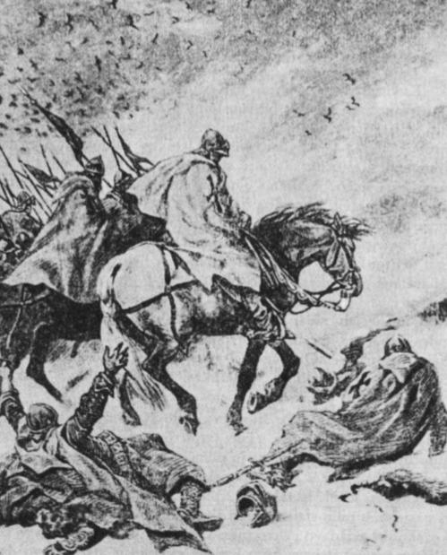 Kryžiuočiai grįžta iš nelaimingo žygio. Lietuviai sunaikino paruoštas maisto atsargas, ir kryžiuočiai žūva išbadėję nuo šalčio. (J. Kosako pav.).