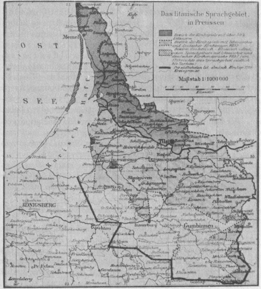 Lietuvių gyvenamosios sritys Mažojoje Lietuvoje pagal vokiečių davinius žemėlapis