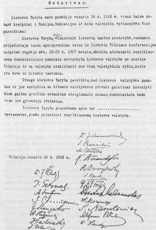 Lietuvos nepriklausomybės paskelbimo aktas
