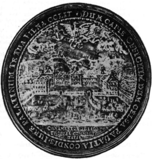 Medalis vaizduojąs Radvilų rūmus Vilniuje XVI a.