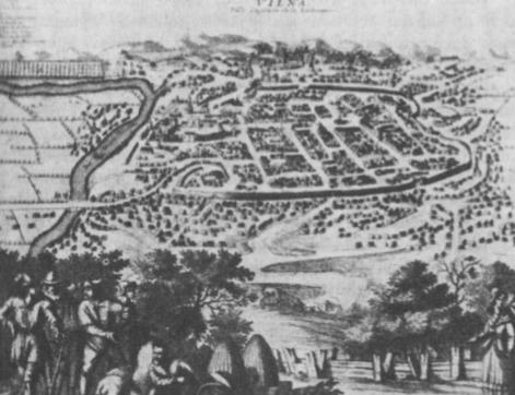 Vilnius XVI a. (ano meto piešinys — planas).