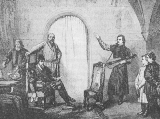 Zigmantas Augustas liūdi mirusios Barboros (Gersono paveikslas).