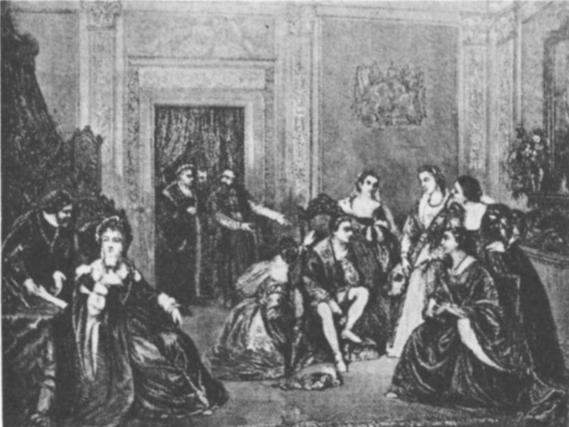 Zigmanto Augusto jaunystė. Jaunutis karalaitis motinos Bonos dvaro damų tarpe. (J. Simlerio paveikslas).