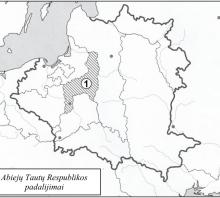 2019 m. VBE 11 testinio klausimo žemėlapis Abiejų Tautų Respublikos padalijimai