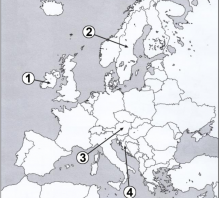 2019 m. VBE 25 testinio klausimo dabartinės Europos žemėlapis – NATO ir ES narystė