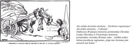 2020 VBE 18 testinio klausimo karikatūra Vokietijos reparacijos