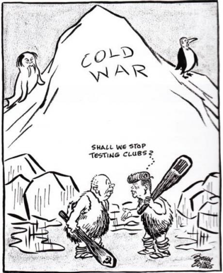 2020 VBE 23 testinio klausimo karikatūra Susitikimas ledynmetį